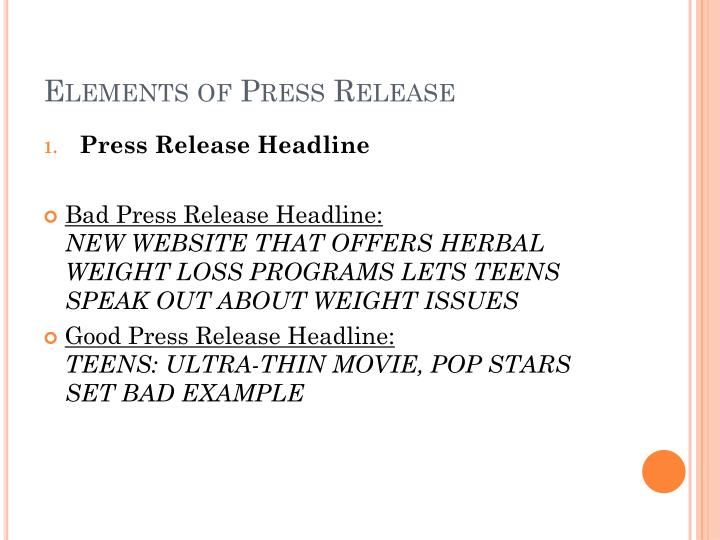 Elements of Press Release