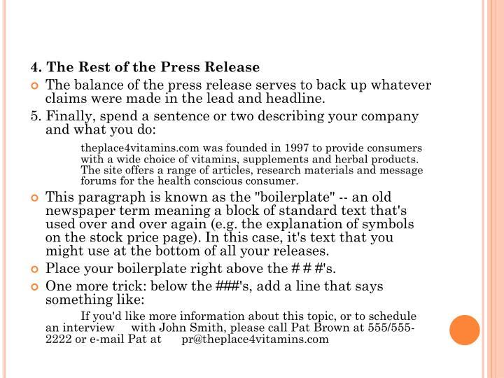 4. The Rest of the Press Release