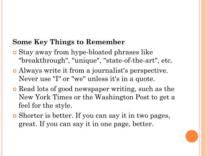 Some Key Things to Remember