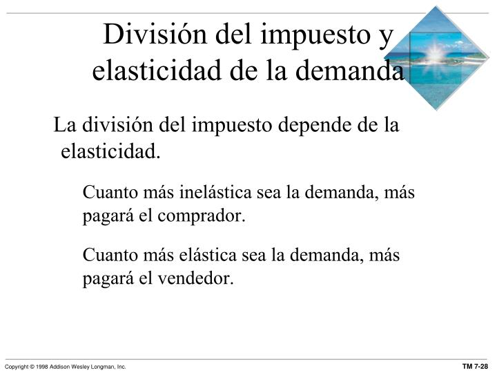 División del impuesto y elasticidad de la demanda