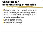 checking for understanding of theories