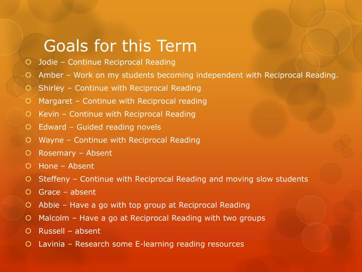 Goals for this Term