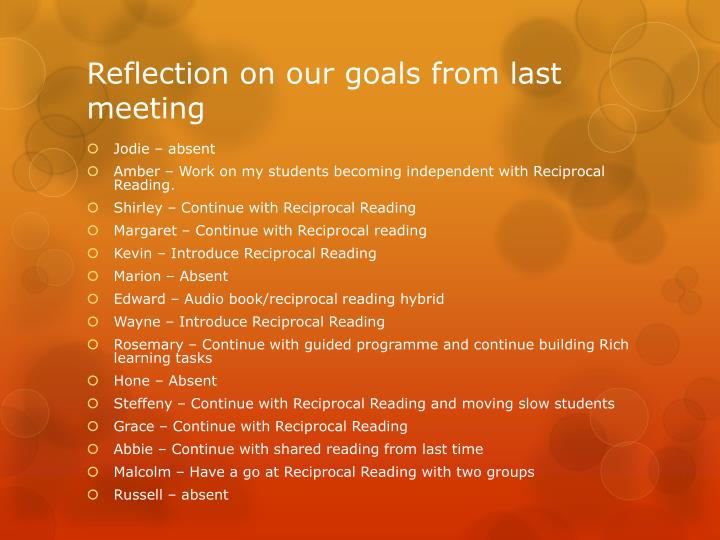 Reflection on our goals from last meeting