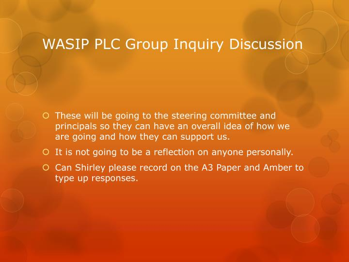 WASIP PLC Group Inquiry Discussion