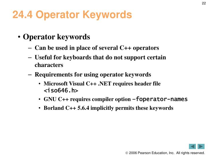 24.4 Operator Keywords