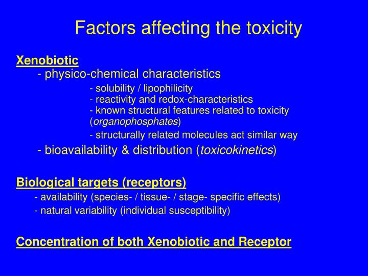 Factors affecting the toxicity