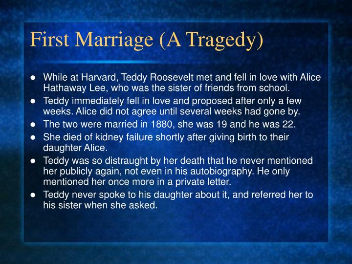 First Marriage (A Tragedy)