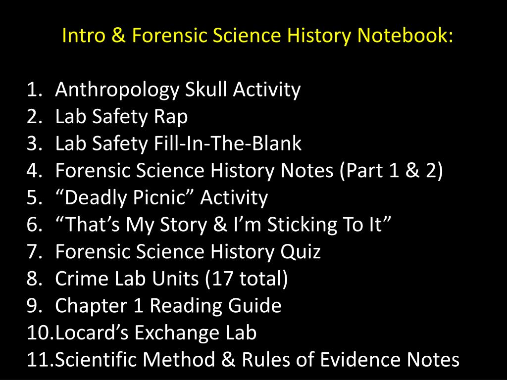 Ppt Intro Forensic Science History Notebook Anthropology Skull Activity Lab Safety Rap Powerpoint Presentation Id 6910215