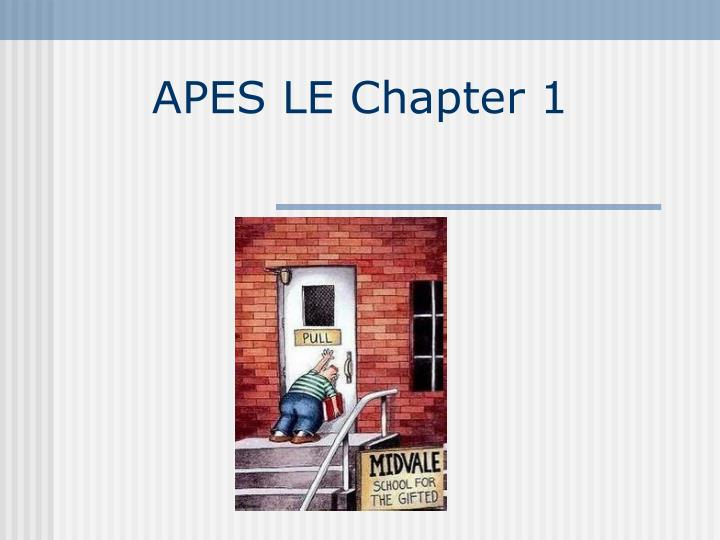 apes le chapter 1 n.