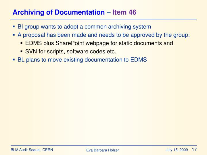 Archiving of Documentation