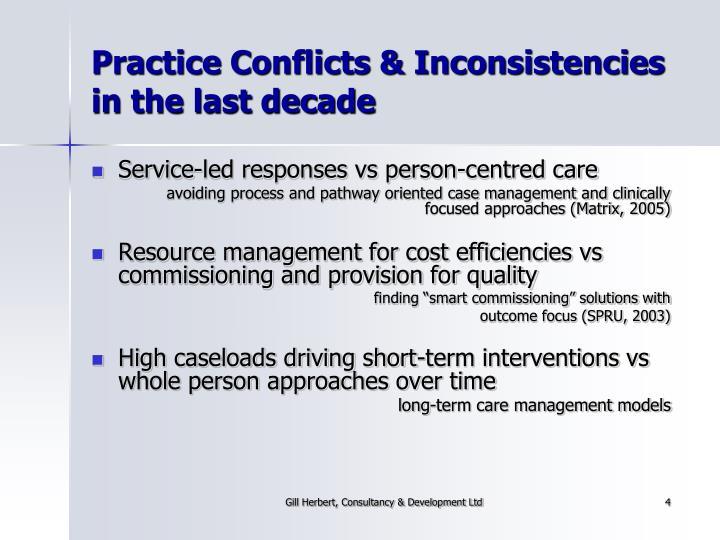 Practice Conflicts & Inconsistencies in the last decade