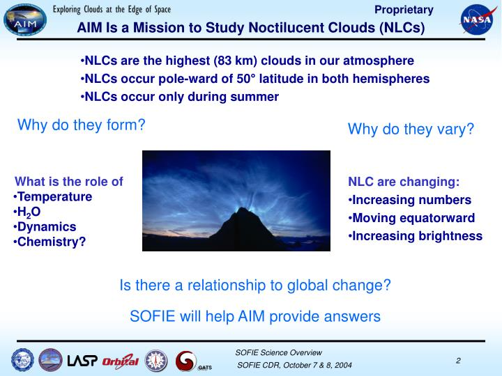 Aim is a mission to study noctilucent clouds nlcs
