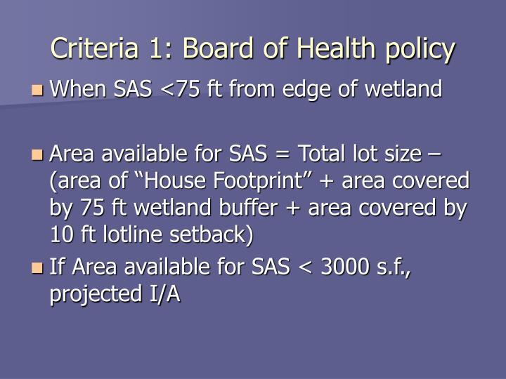 Criteria 1: Board of Health policy