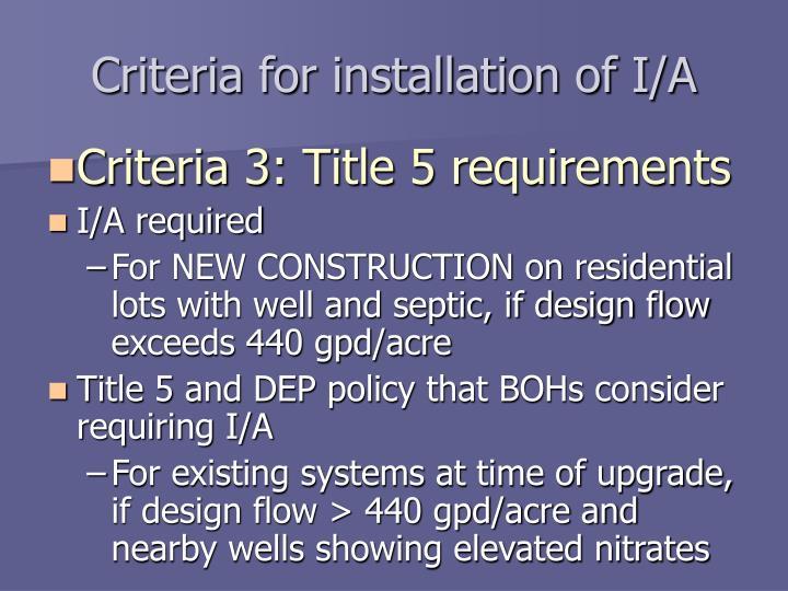 Criteria for installation of I/A