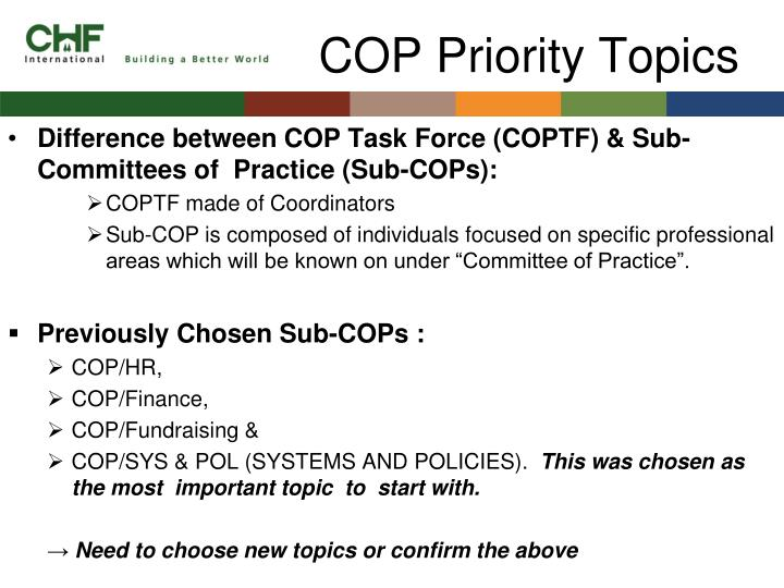 Cop priority topics