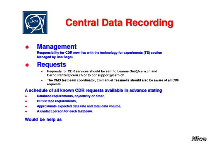 PPT - Central Data Recording PowerPoint Presentation - ID