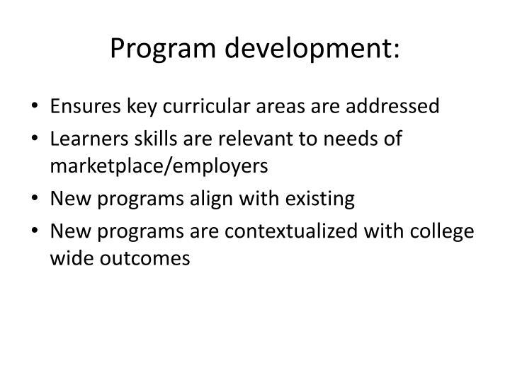 Program development: