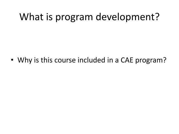 What is program development?