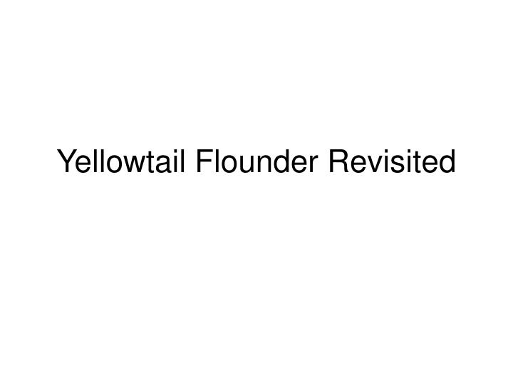 Yellowtail flounder revisited