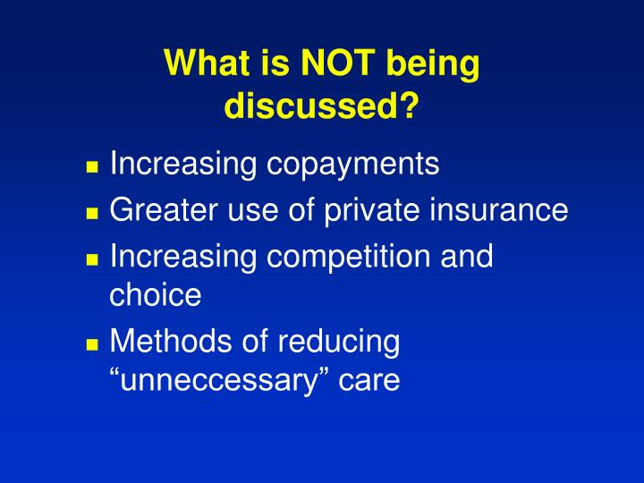 What is NOT being discussed?