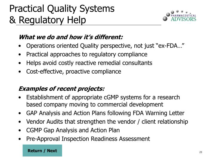 Practical Quality Systems