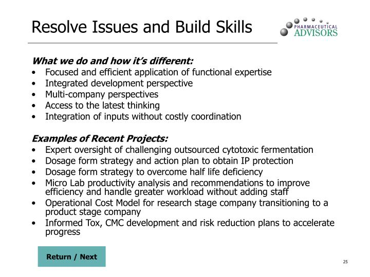 Resolve Issues and Build Skills