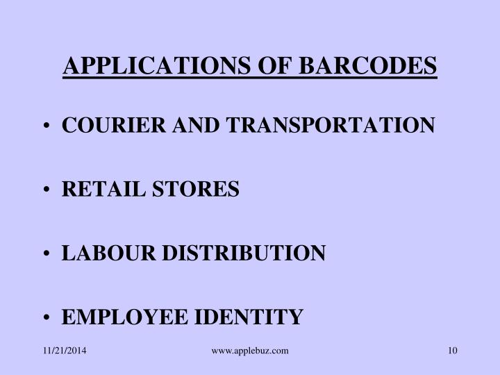 APPLICATIONS OF BARCODES