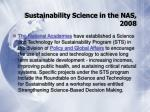 sustainability science in the nas 2008