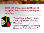 read the articles on education and complete the activities following each selection