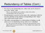redundancy of tables cont