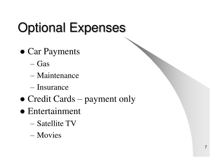 Optional Expenses