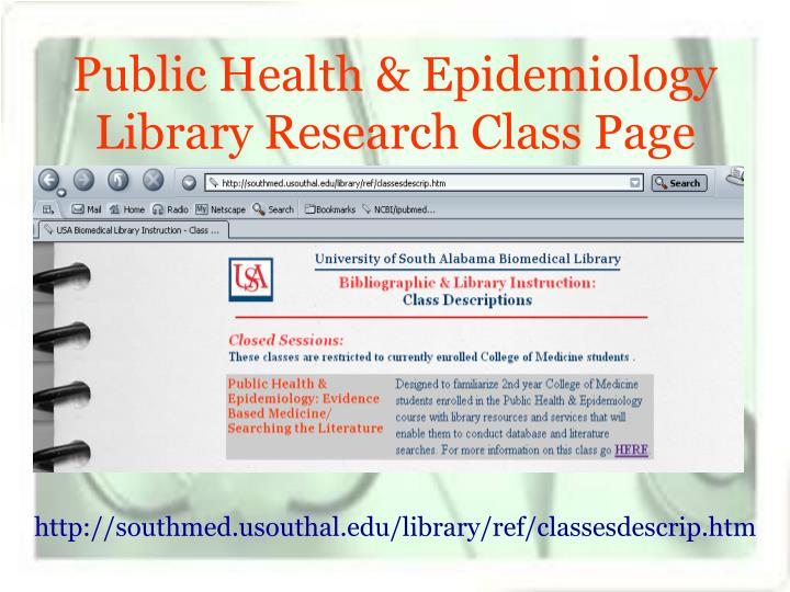 Public Health & Epidemiology Library Research Class Page