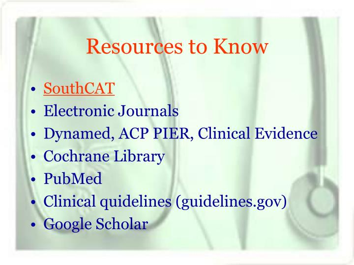 Resources to Know