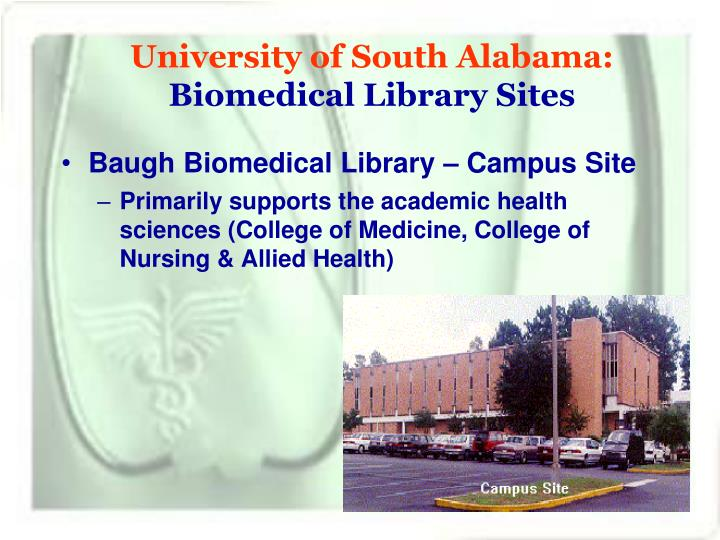 University of south alabama biomedical library sites