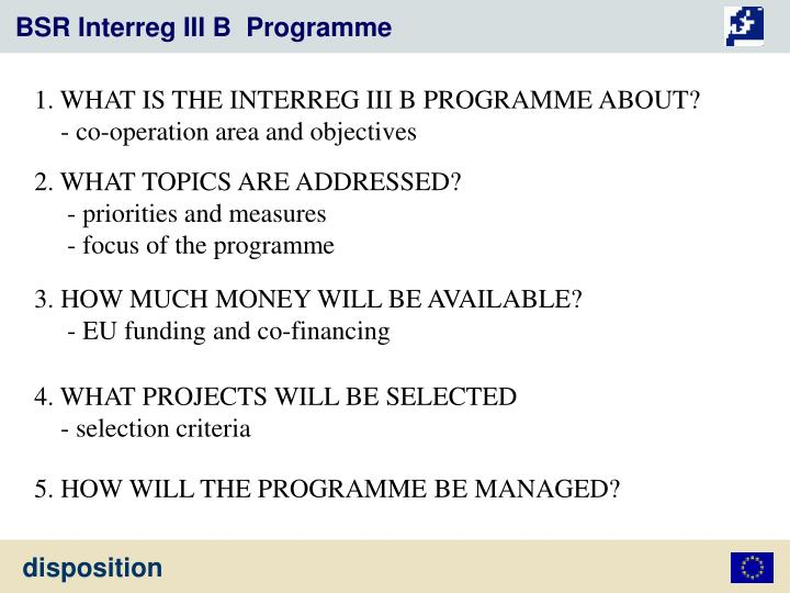 BSR Interreg III B  Programme