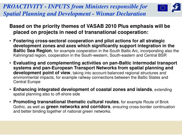 PROACTIVITY - INPUTS from Ministers responsible for