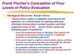 frank fischer s conception of four levels of policy evaluation10
