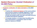 system discourse societal vindication of the moi policy