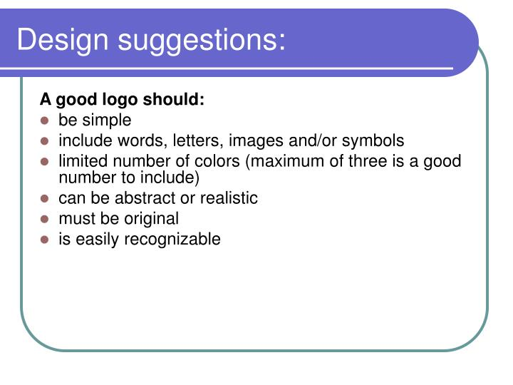 Design suggestions: