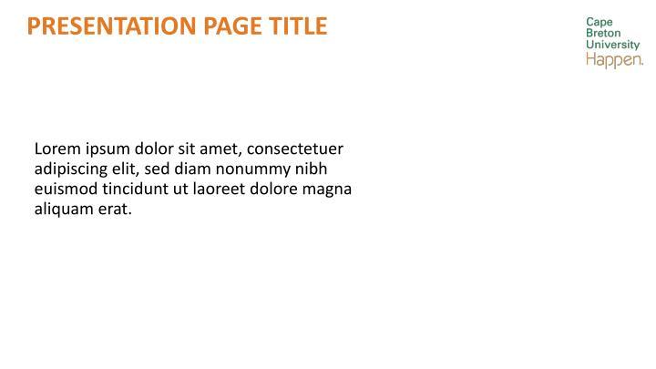 Presentation page title
