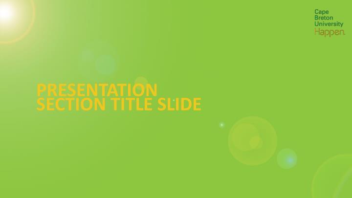 Presentation section title slide