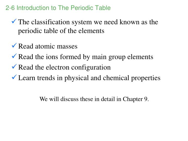 2-6 Introduction to The Periodic Table