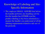 knowledge of labeling and site specific information
