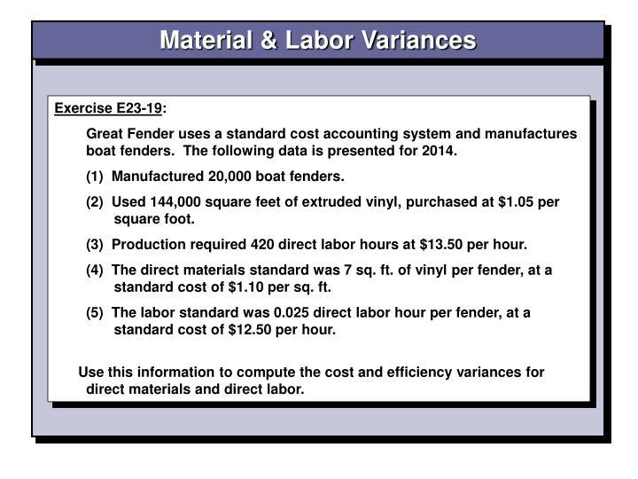 Material & Labor Variances