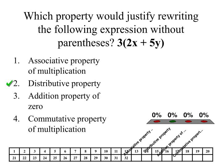 Which property would justify rewriting the following expression without parentheses?