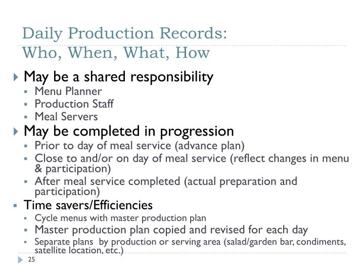 Daily Production Records: