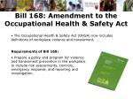 bill 168 amendment to the occupational health safety act