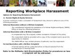 reporting workplace harassment