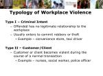 typology of workplace violence