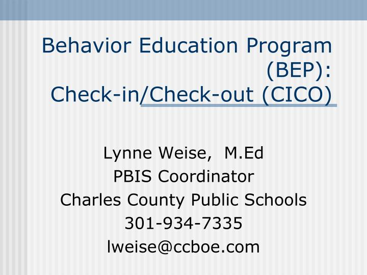 behavior education program bep check in check out cico n.